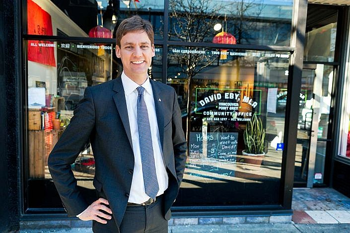 Portrait Photography MLA David Eby stands before his office in Vancouver Point Grey